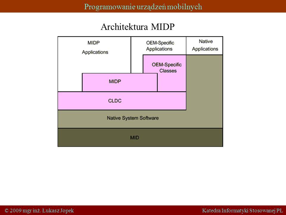 Programowanie urządzeń mobilnych © 2009 mgr inż. Łukasz Jopek Katedra Informatyki Stosowanej PŁ Architektura MIDP