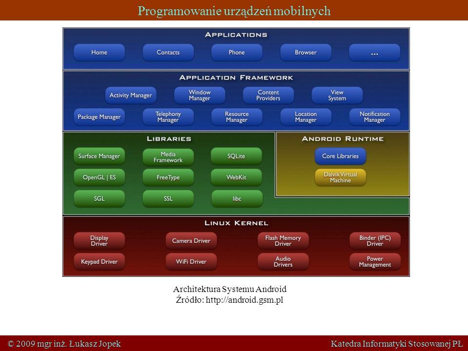 Programowanie urządzeń mobilnych © 2009 mgr inż. Łukasz Jopek Katedra Informatyki Stosowanej PŁ Architektura Systemu Android Źródło: http://android.gs