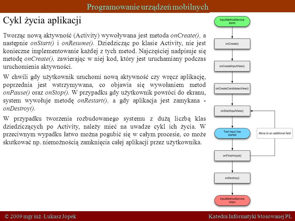 Programowanie urządzeń mobilnych © 2009 mgr inż. Łukasz Jopek Katedra Informatyki Stosowanej PŁ Cykl życia aplikacji Tworząc nową aktywność (Activity)