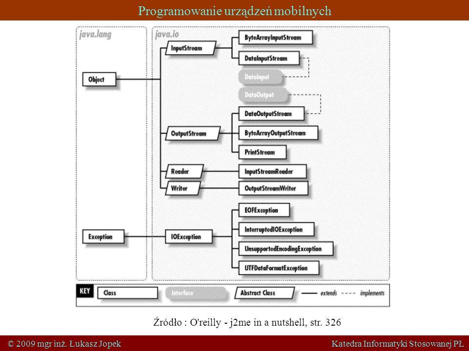 Programowanie urządzeń mobilnych © 2009 mgr inż. Łukasz Jopek Katedra Informatyki Stosowanej PŁ Źródło : O'reilly - j2me in a nutshell, str. 326