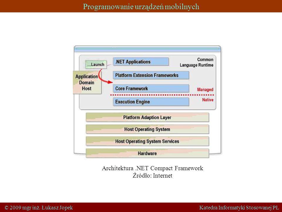 Programowanie urządzeń mobilnych © 2009 mgr inż. Łukasz Jopek Katedra Informatyki Stosowanej PŁ Architektura.NET Compact Framework Źródło: Internet