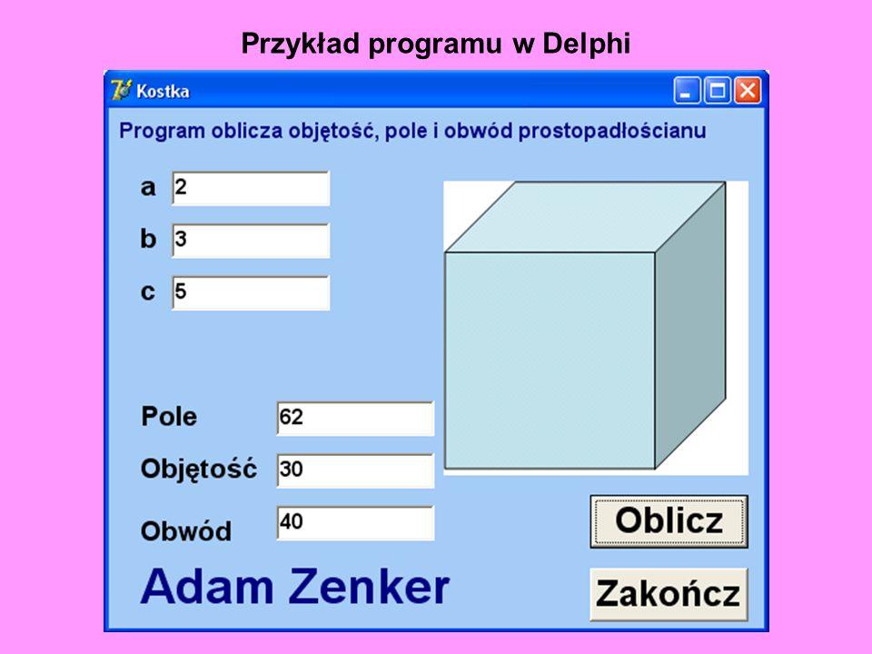 Przykład programu w Delphi
