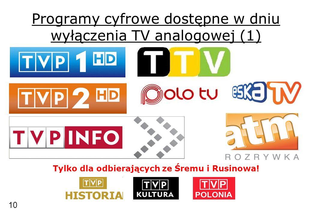 Programy cyfrowe dostępne w dniu wyłączenia TV analogowej (1) Tylko dla odbierających ze Śremu i Rusinowa.