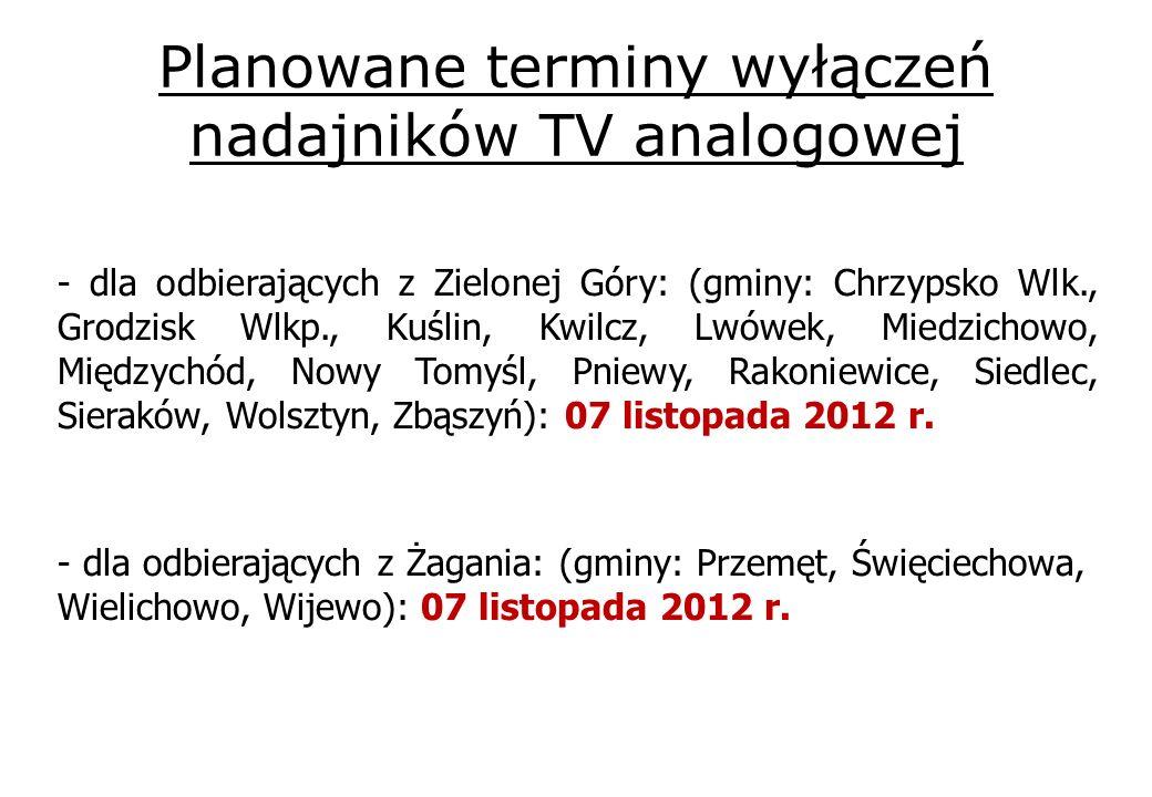 Planowane terminy wyłączeń nadajników TV analogowej - dla odbierających z Zielonej Góry: (gminy: Chrzypsko Wlk., Grodzisk Wlkp., Kuślin, Kwilcz, Lwówek, Miedzichowo, Międzychód, Nowy Tomyśl, Pniewy, Rakoniewice, Siedlec, Sieraków, Wolsztyn, Zbąszyń): 07 listopada 2012 r.