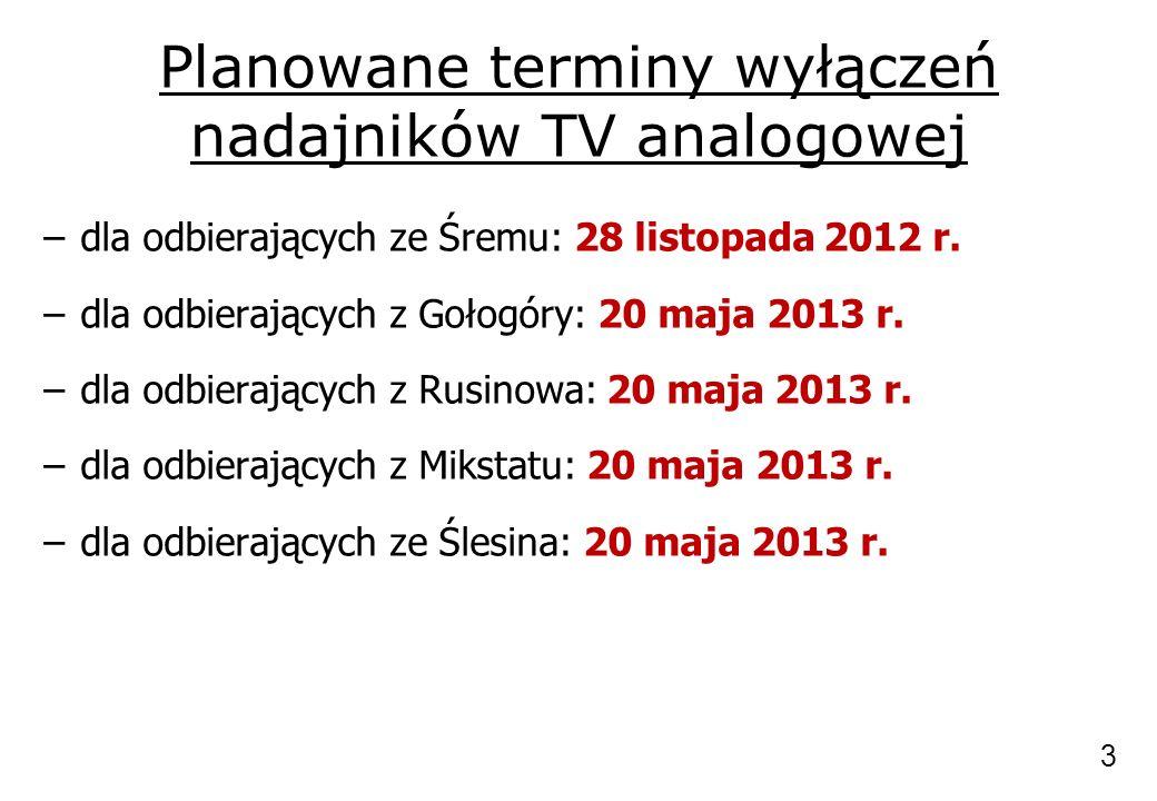 Planowane terminy wyłączeń nadajników TV analogowej –dla odbierających ze Śremu: 28 listopada 2012 r. –dla odbierających z Gołogóry: 20 maja 2013 r. –