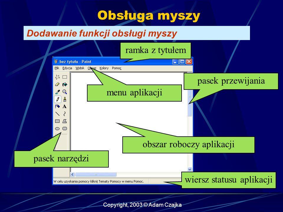 Copyright, 2003 © Adam Czajka Obsługa myszy Dodawanie funkcji obsługi myszy obszar roboczy aplikacji menu aplikacji pasek narzędzi ramka z tytułem pasek przewijania wiersz statusu aplikacji