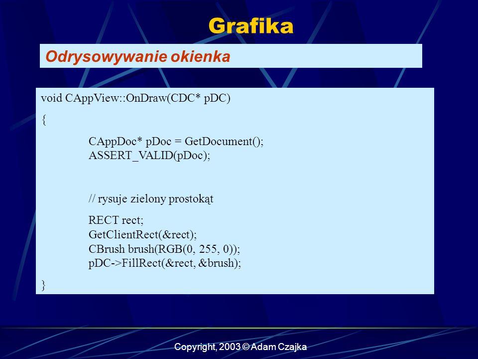 Copyright, 2003 © Adam Czajka Grafika Odrysowywanie okienka void CAppView::OnDraw(CDC* pDC) { CAppDoc* pDoc = GetDocument(); ASSERT_VALID(pDoc); // rysuje zielony prostokąt RECT rect; GetClientRect(&rect); CBrush brush(RGB(0, 255, 0)); pDC->FillRect(&rect, &brush); }