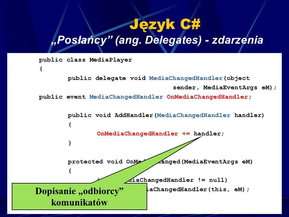 Copyright, 2004 © Adam Czajka Język C# Posłańcy (ang. Delegates) - zdarzenia public class MediaPlayer { public delegate void MediaChangedHandler(objec
