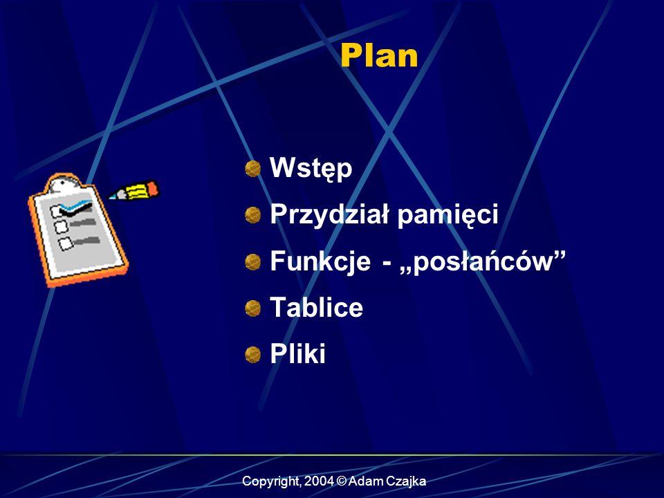 Plan Wstęp Przydział pamięci Funkcje - posłańców Tablice Pliki