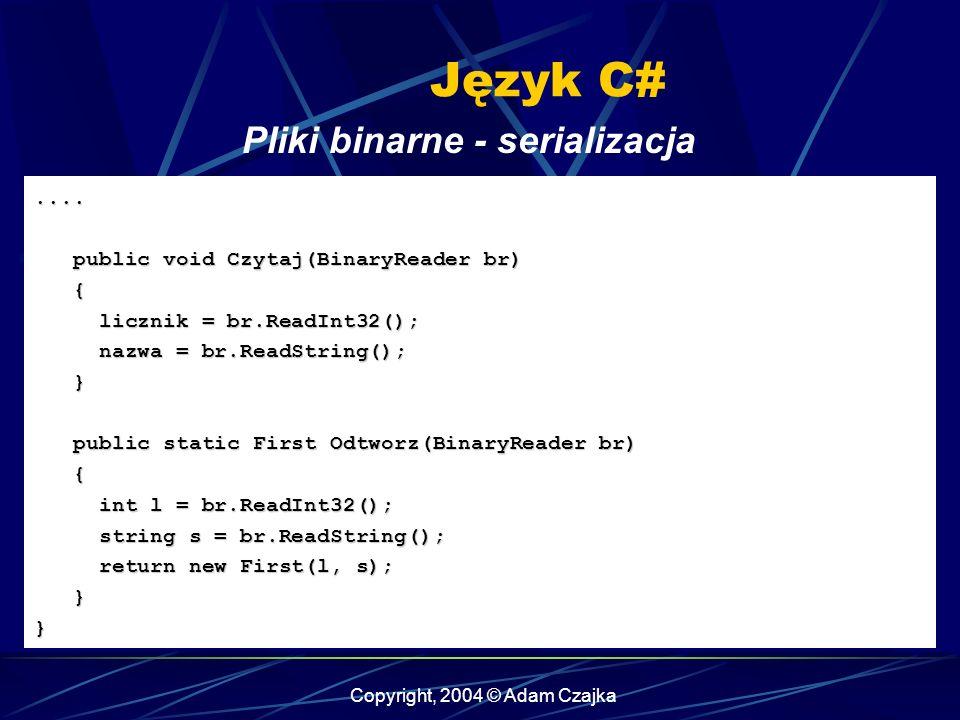Copyright, 2004 © Adam Czajka Język C#....