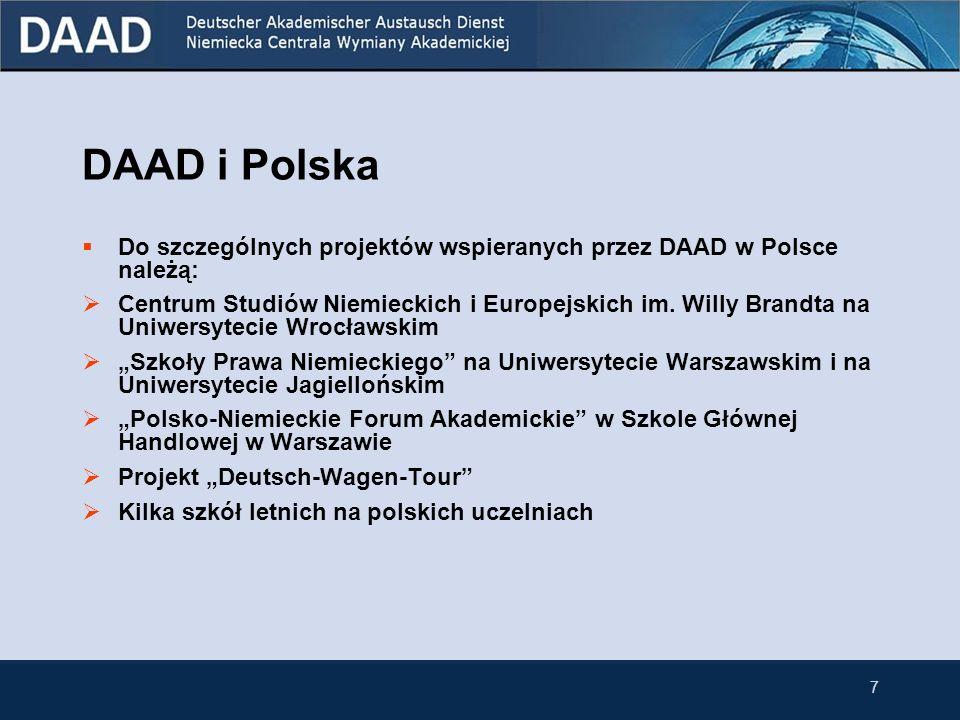 6 2. DAAD i Polska W roku 2007 w ramach programów stypendialnych wsparcie otrzymało 3121 Polaków i 2943 Niemców. Przedstawicielstwo DAAD w Warszawie p