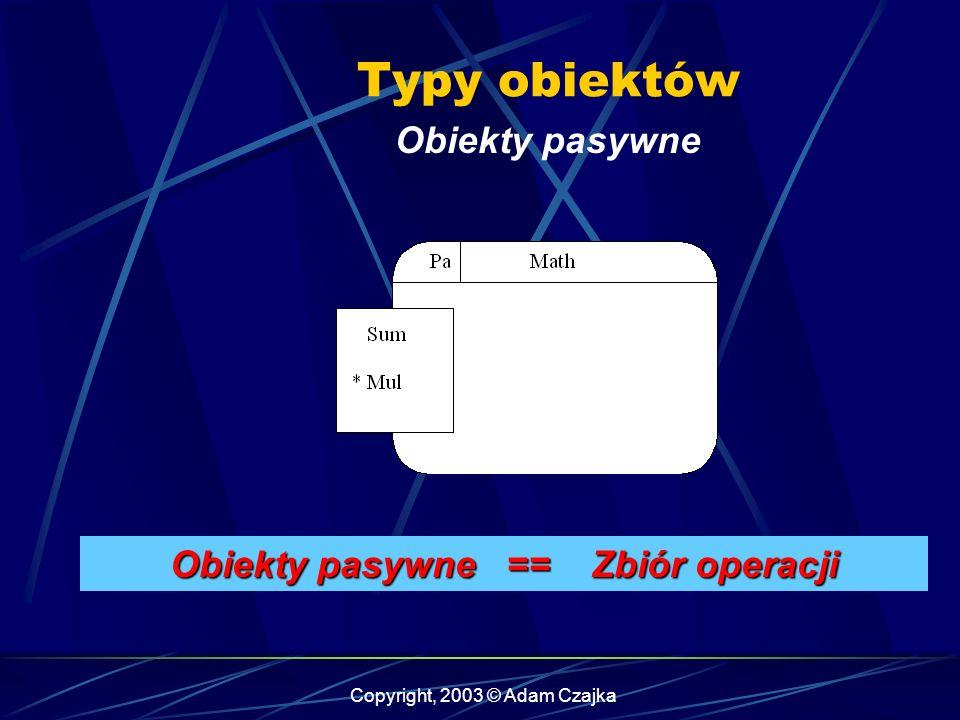 Copyright, 2003 © Adam Czajka Typy obiektów Obiekty pasywne Obiekty pasywne == Zbiór operacji