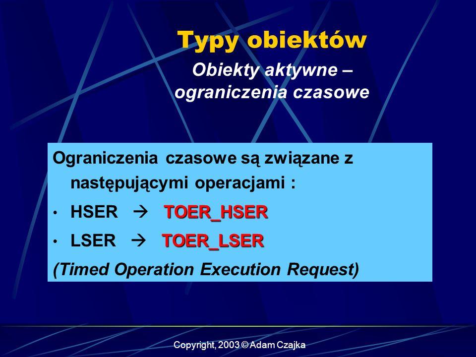 Copyright, 2003 © Adam Czajka Ograniczenia czasowe są związane z następującymi operacjami : TOER_HSER HSER TOER_HSER TOER_LSER LSER TOER_LSER (Timed O