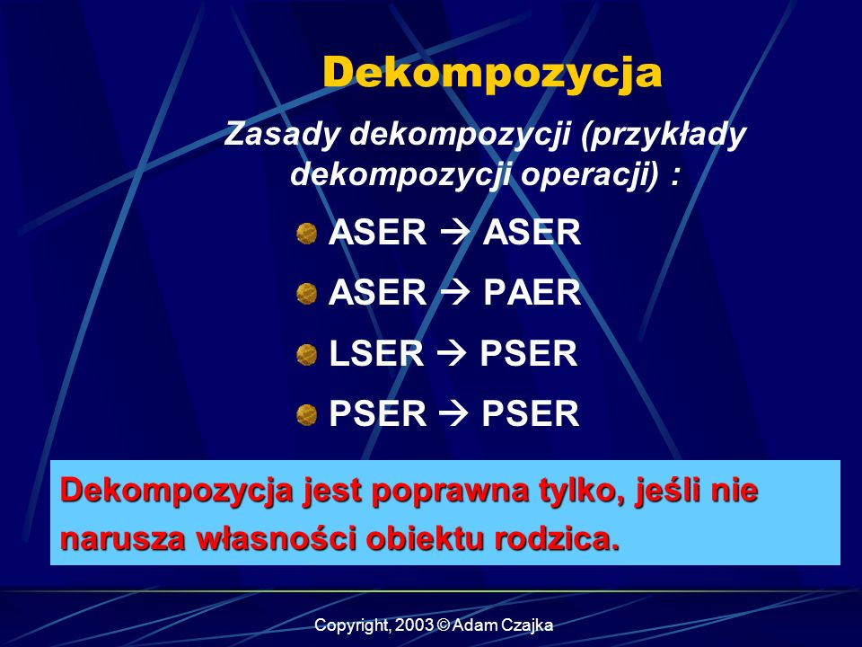Copyright, 2003 © Adam Czajka Zasady dekompozycji (przykłady dekompozycji operacji) : ASER ASER PAER LSER PSER PSER Dekompozycja jest poprawna tylko,