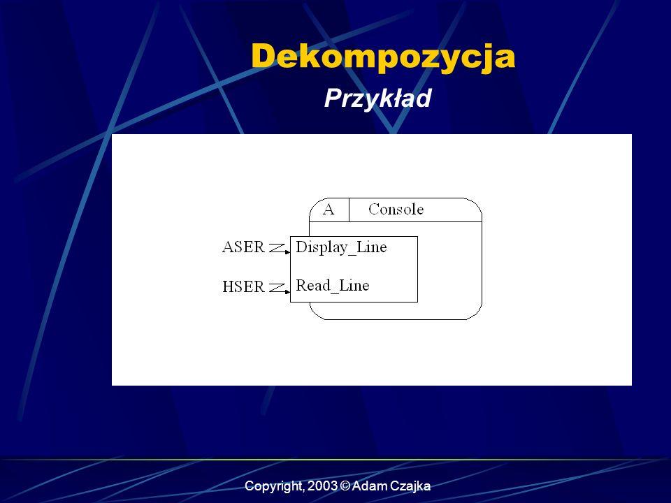 Copyright, 2003 © Adam Czajka Przykład Dekompozycja