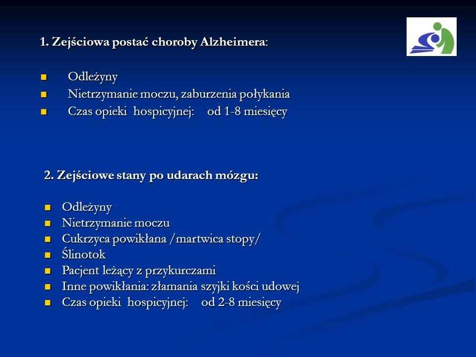 1. Zejściowa postać choroby Alzheimera: Odleżyny Odleżyny Nietrzymanie moczu, zaburzenia połykania Nietrzymanie moczu, zaburzenia połykania Czas opiek