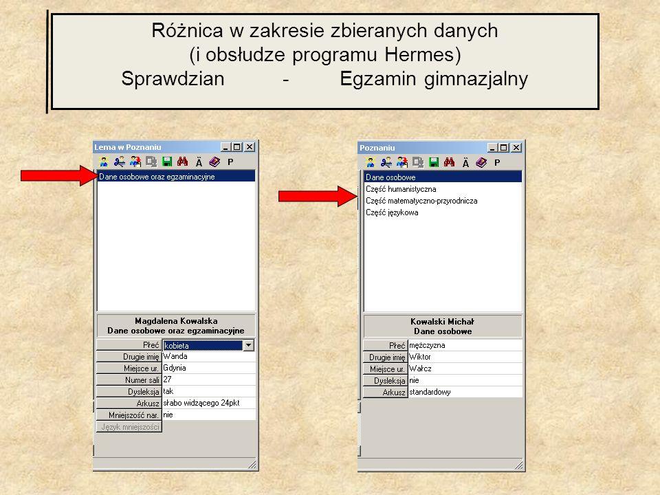 Różnica w zakresie zbieranych danych (i obsłudze programu Hermes) Sprawdzian - Egzamin gimnazjalny