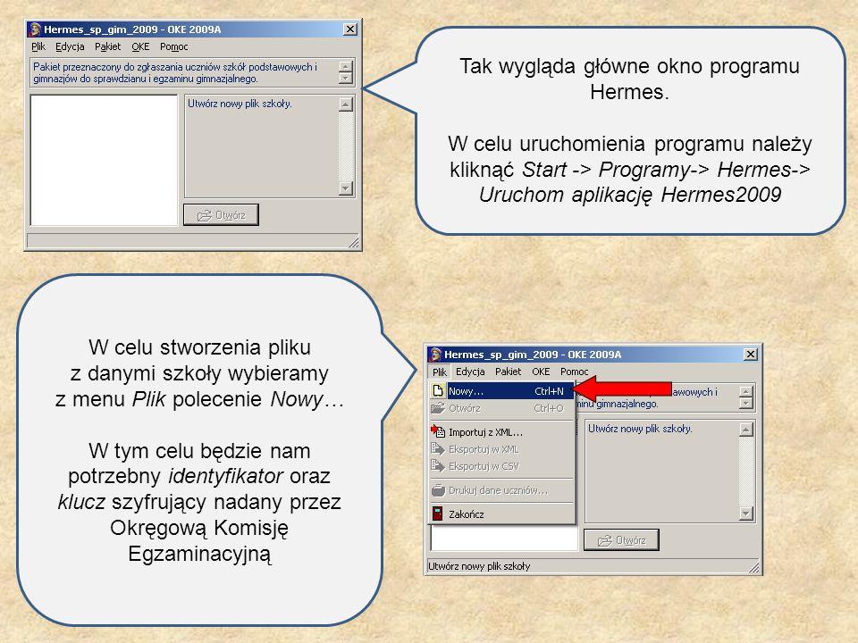 Tak wygląda główne okno programu Hermes. W celu uruchomienia programu należy kliknąć Start -> Programy-> Hermes-> Uruchom aplikację Hermes2009 W celu