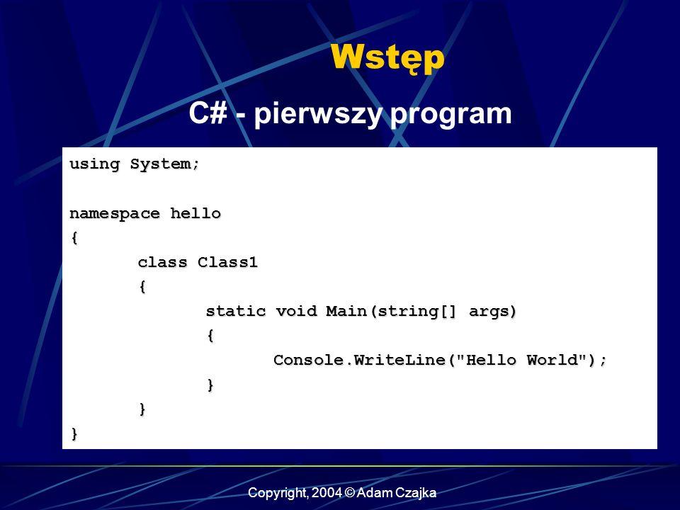 Copyright, 2004 © Adam Czajka Wstęp C# - pierwszy program using System; namespace hello { class Class1 { static void Main(string[] args) { Console.Wri