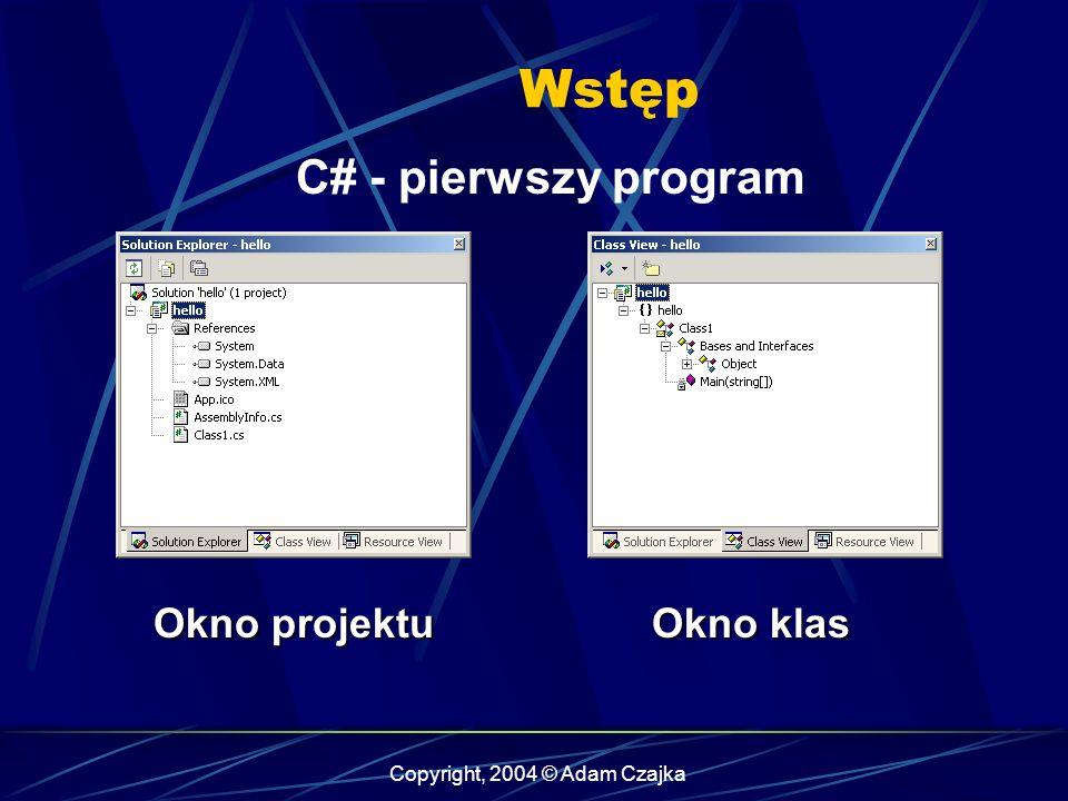 Copyright, 2004 © Adam Czajka Wstęp C# - pierwszy program Okno projektu Okno klas