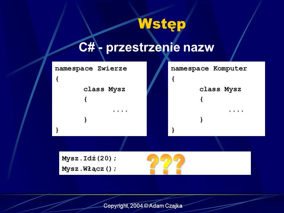 Copyright, 2004 © Adam Czajka Wstęp C# - przestrzenie nazw namespace Zwierze { class Mysz {....}} namespace Komputer { class Mysz {....}} Mysz.Idź(20)
