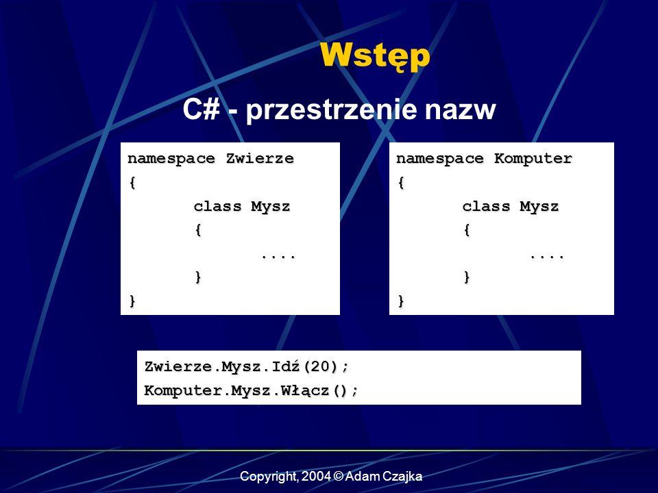 Copyright, 2004 © Adam Czajka Wstęp C# - przestrzenie nazw namespace Zwierze { class Mysz {....}} namespace Komputer { class Mysz {....}} Zwierze.Mysz