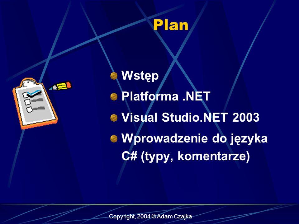 Plan Wstęp Platforma.NET Visual Studio.NET 2003 Wprowadzenie do języka C# (typy, komentarze)