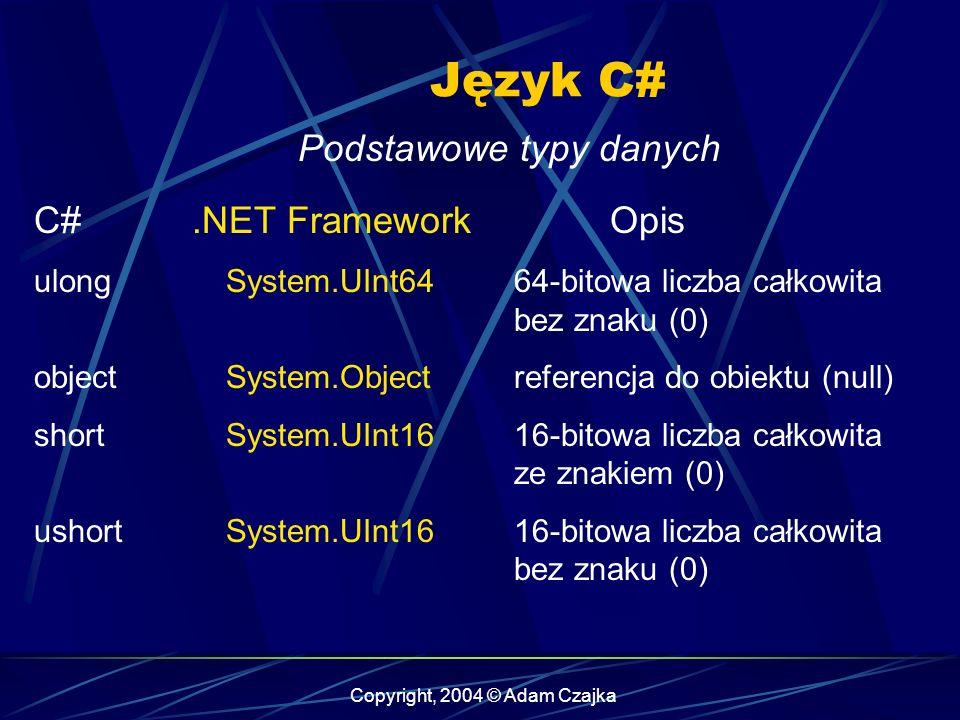 Copyright, 2004 © Adam Czajka Język C# Podstawowe typy danych C#.NET FrameworkOpis ulongSystem.UInt6464-bitowa liczba całkowita bez znaku (0) objectSy