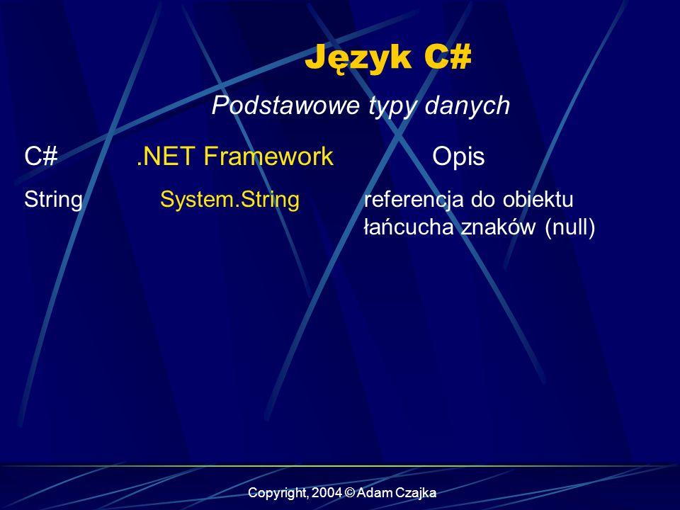 Copyright, 2004 © Adam Czajka Język C# Podstawowe typy danych C#.NET FrameworkOpis StringSystem.Stringreferencja do obiektu łańcucha znaków (null)