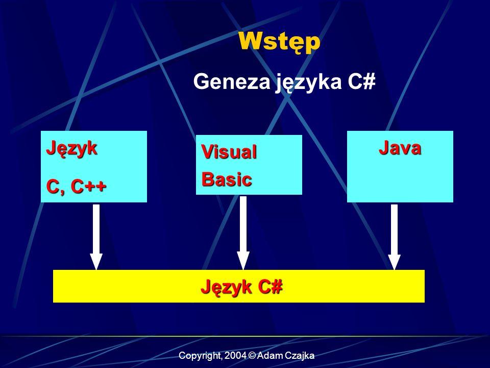 Copyright, 2004 © Adam Czajka Wstęp Geneza języka C# Język C, C++ Visual Basic Java Java Język C# Język C#