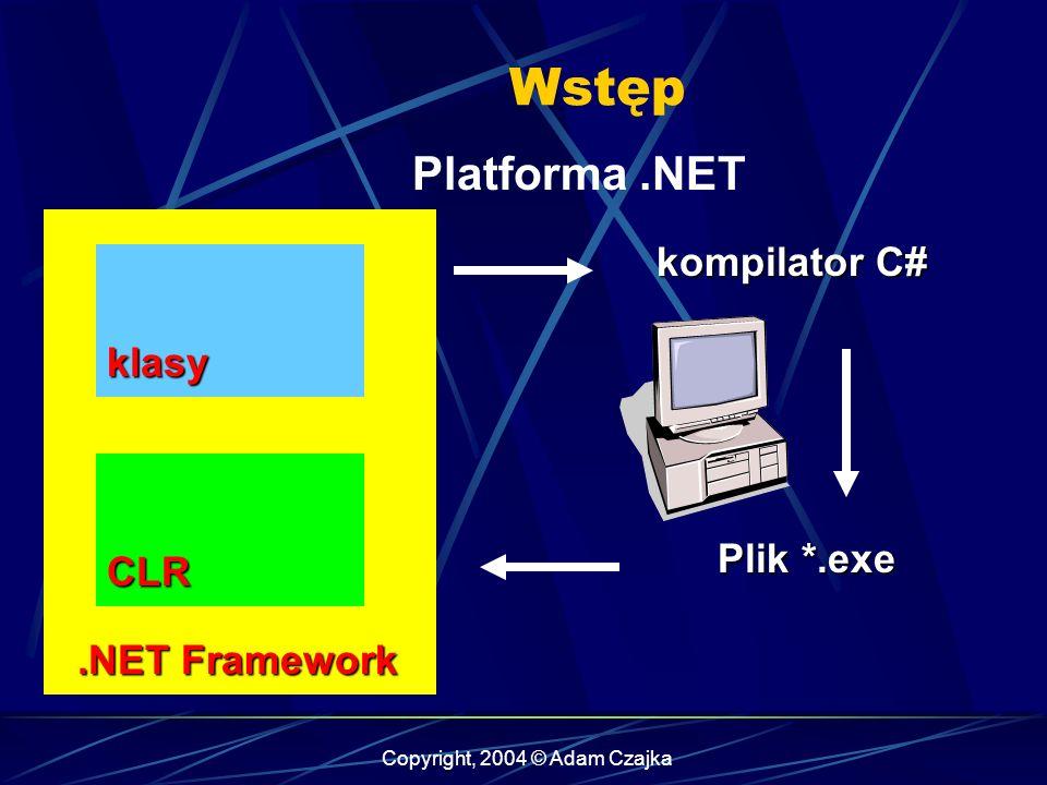 Copyright, 2004 © Adam Czajka Wstęp Platforma.NET.NET Framework.NET Framework CLR klasy kompilator C# Plik *.exe