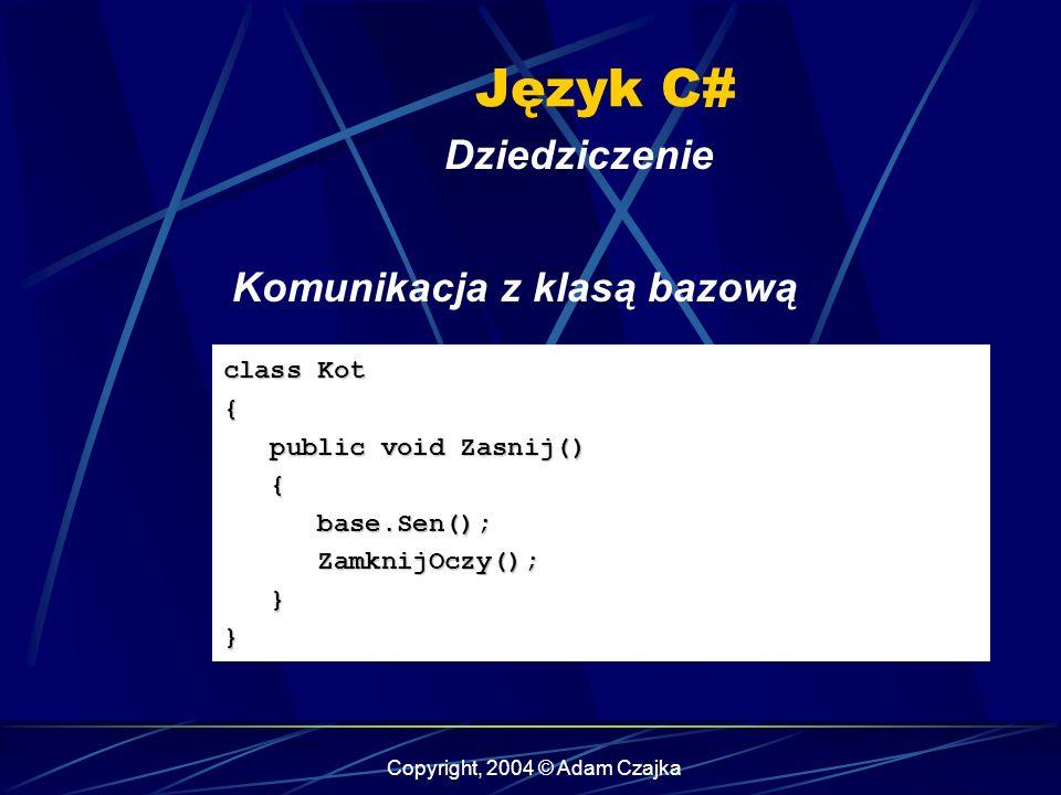 Copyright, 2004 © Adam Czajka Język C# Dziedziczenie class Kot { public void Zasnij() public void Zasnij() { base.Sen(); base.Sen(); ZamknijOczy(); Za