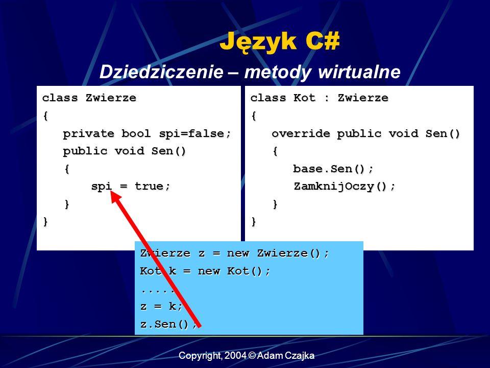 Copyright, 2004 © Adam Czajka Język C# Dziedziczenie – metody wirtualne class Zwierze { private bool spi=false; private bool spi=false; public void Se