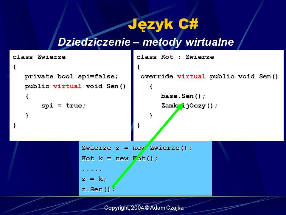 Copyright, 2004 © Adam Czajka Język C# class Zwierze { private bool spi=false; private bool spi=false; public virtual void Sen() public virtual void S