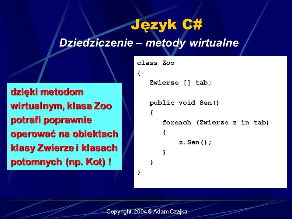 Copyright, 2004 © Adam Czajka Język C# class Zoo { Zwierze [] tab; Zwierze [] tab; public void Sen() public void Sen() { foreach (Zwierze z in tab) fo