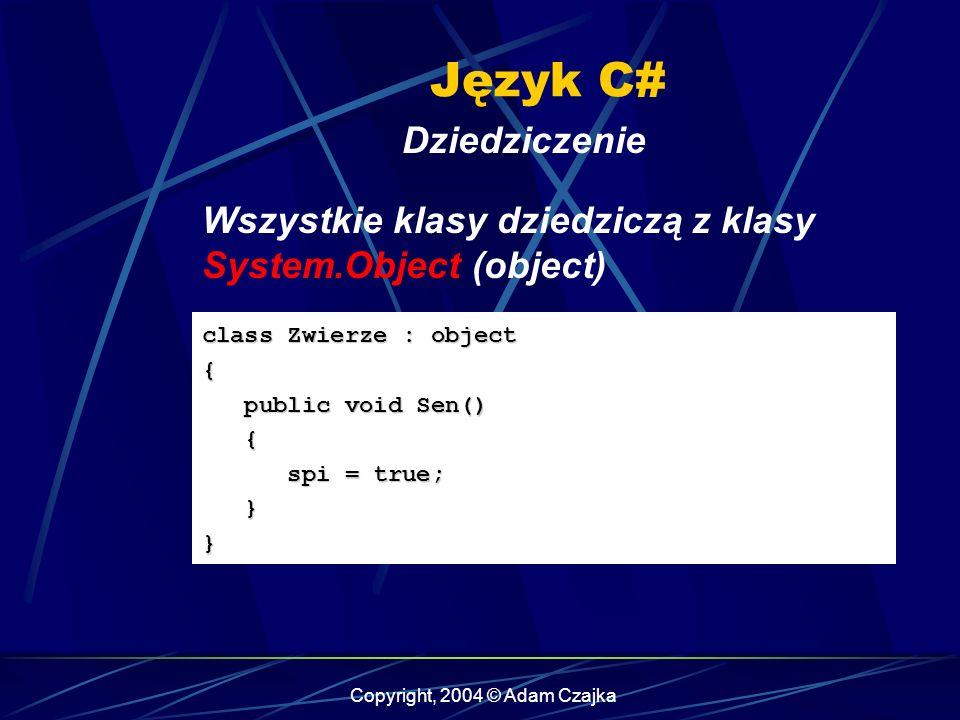 Copyright, 2004 © Adam Czajka Język C# Dziedziczenie class Zwierze : object { public void Sen() public void Sen() { spi = true; spi = true; }} Wszystk