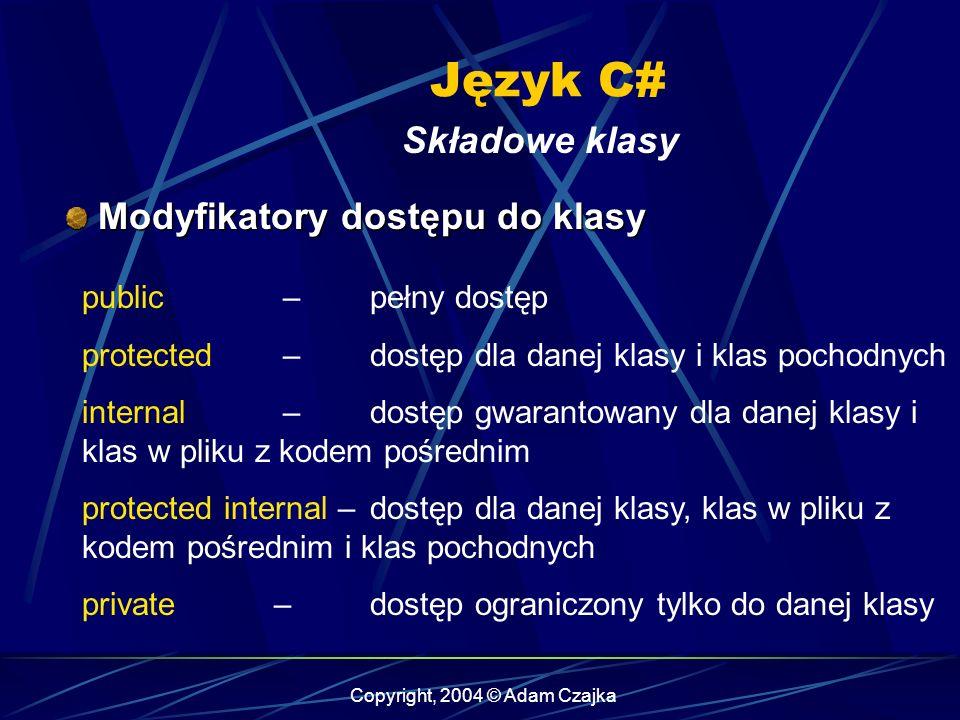 Copyright, 2004 © Adam Czajka Język C# Składowe klasy Modyfikatory dostępu do klasy Modyfikatory dostępu do klasy public – pełny dostęp protected – do