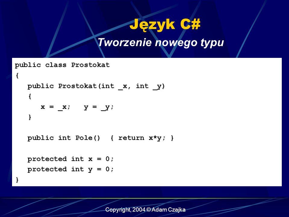 Copyright, 2004 © Adam Czajka Język C# Tworzenie nowego typu public class Prostokat { public Prostokat(int _x, int _y) public Prostokat(int _x, int _y
