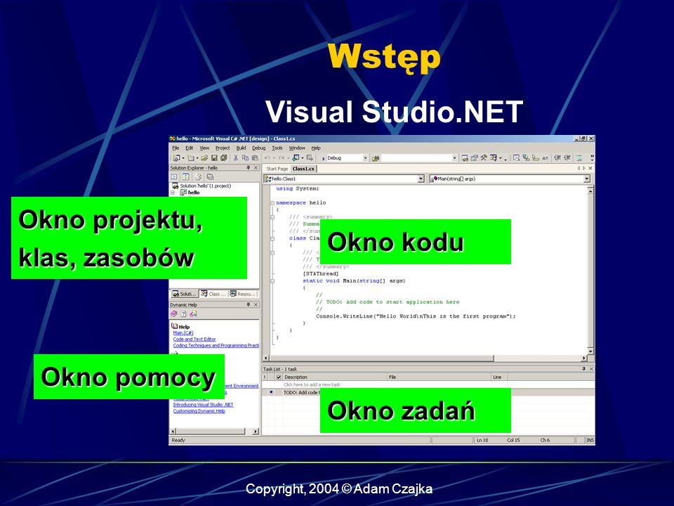 Copyright, 2004 © Adam Czajka Wstęp Visual Studio.NET Okno kodu Okno zadań Okno pomocy Okno projektu, klas, zasobów