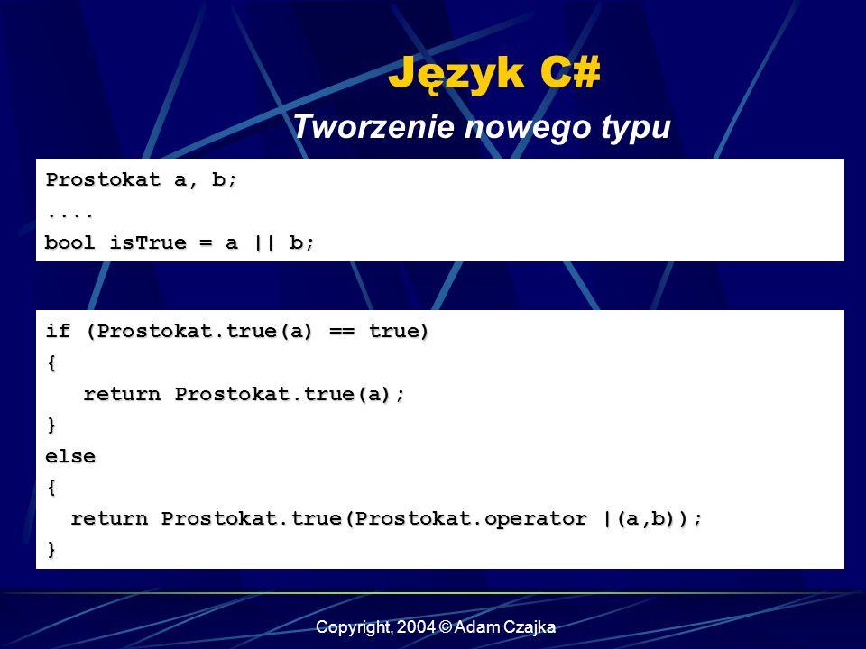 Copyright, 2004 © Adam Czajka Język C# Tworzenie nowego typu Prostokat a, b;.... bool isTrue = a || b; if (Prostokat.true(a) == true) { return Prostok