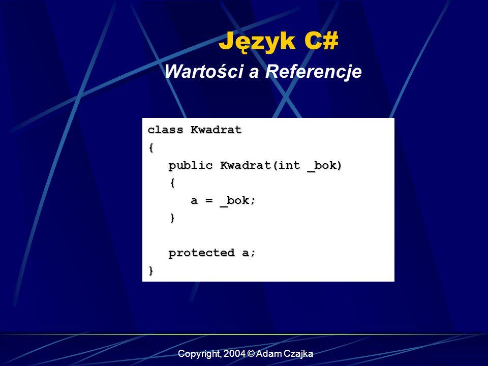 Copyright, 2004 © Adam Czajka Język C# Wartości a Referencje class Kwadrat { public Kwadrat(int _bok) public Kwadrat(int _bok) { a = _bok; a = _bok; }