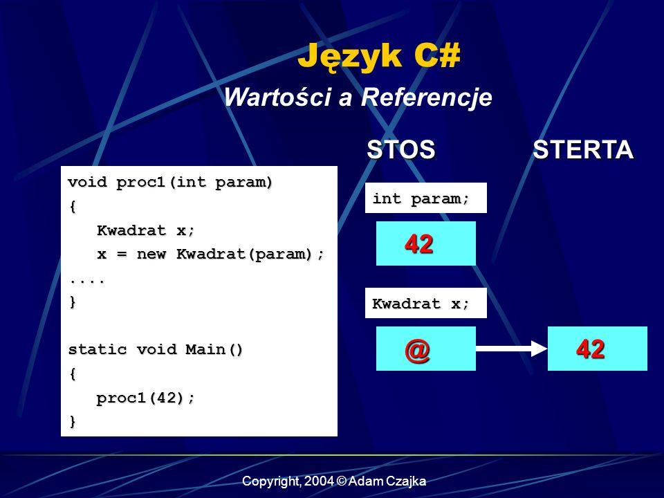 Copyright, 2004 © Adam Czajka Język C# Wartości a Referencje void proc1(int param) { Kwadrat x; Kwadrat x; x = new Kwadrat(param); x = new Kwadrat(par