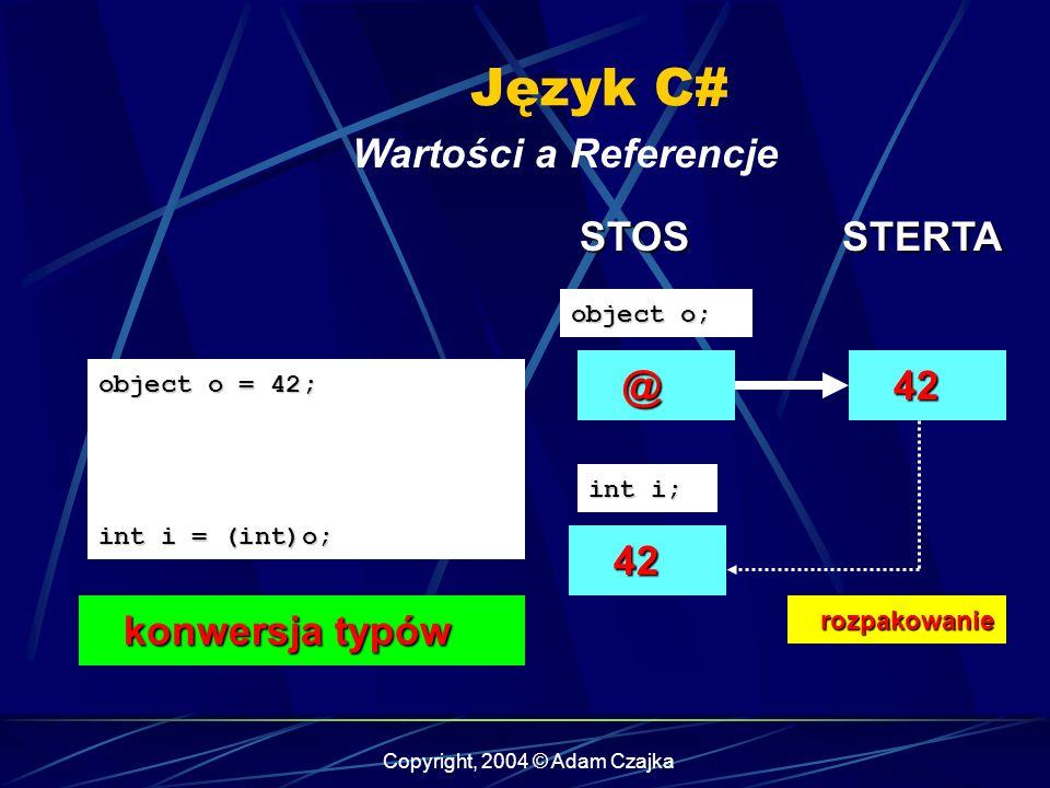 Copyright, 2004 © Adam Czajka Język C# Wartości a Referencje object o = 42; int i = (int)o; @ object o; 42 42 STOSSTERTA rozpakowanie rozpakowanie int