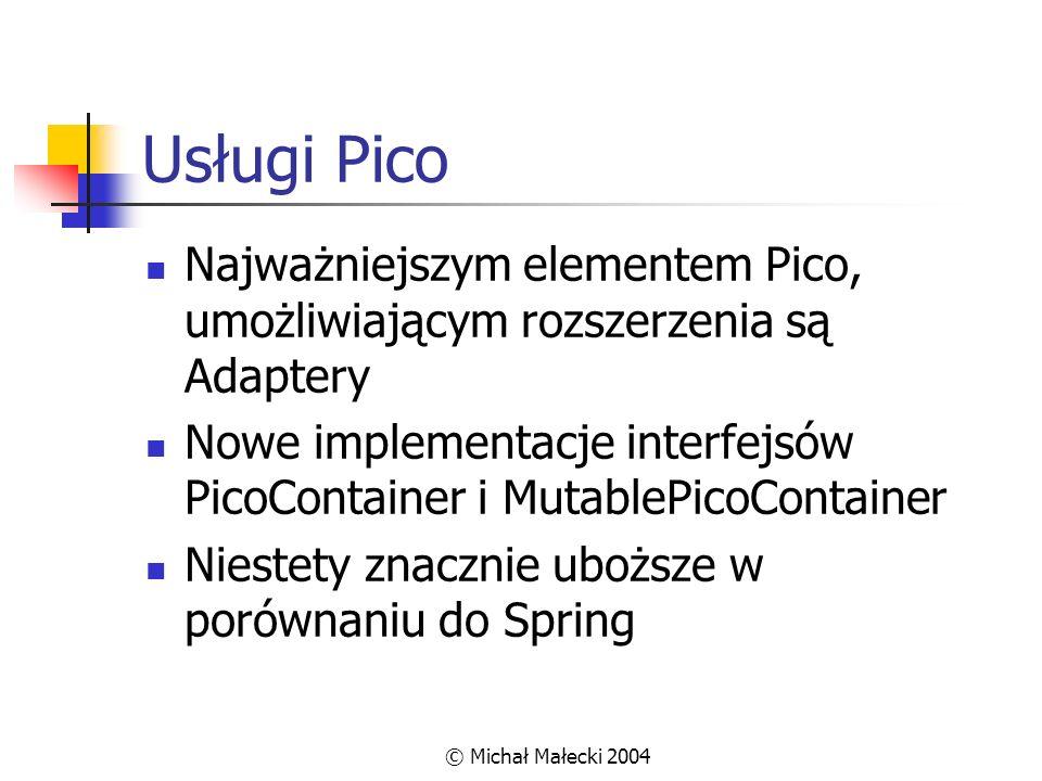 © Michał Małecki 2004 Usługi Pico Najważniejszym elementem Pico, umożliwiającym rozszerzenia są Adaptery Nowe implementacje interfejsów PicoContainer