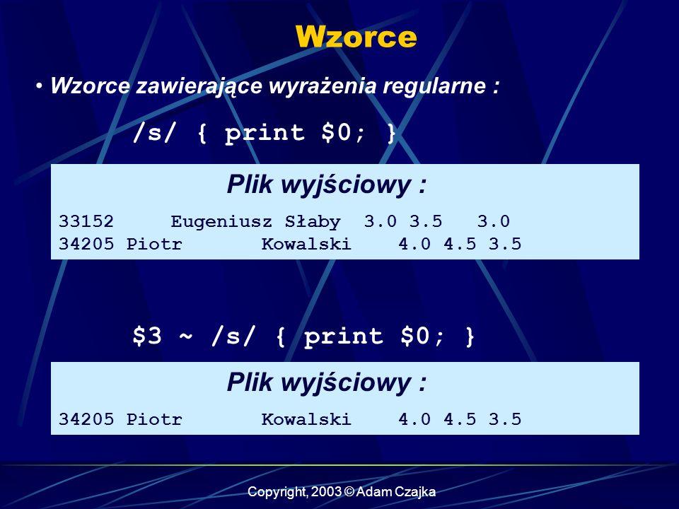 Copyright, 2003 © Adam Czajka Wzorce Wzorce zawierające wyrażenia regularne : /s/ { print $0; } Plik wyjściowy : 33152 Eugeniusz Słaby 3.0 3.5 3.0 34205 Piotr Kowalski 4.0 4.5 3.5 $3 ~ /s/ { print $0; } Plik wyjściowy : 34205 Piotr Kowalski 4.0 4.5 3.5