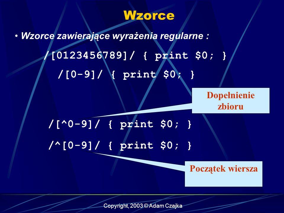 Copyright, 2003 © Adam Czajka Wzorce Wzorce zawierające wyrażenia regularne : /[0123456789]/ { print $0; } /[0-9]/ { print $0; } /[^0-9]/ { print $0; } /^[0-9]/ { print $0; } Dopełnienie zbioru Początek wiersza