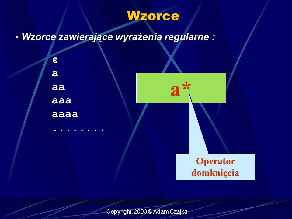 Copyright, 2003 © Adam Czajka Wzorce Wzorce zawierające wyrażenia regularne : ε a aa aaa aaaa........