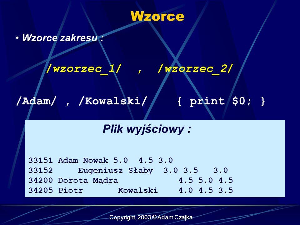 Copyright, 2003 © Adam Czajka Wzorce Wzorce zakresu : /wzorzec_1/, /wzorzec_2/ /Adam/, /Kowalski/ { print $0; } Plik wyjściowy : 33151 Adam Nowak 5.0 4.5 3.0 33152 Eugeniusz Słaby 3.0 3.5 3.0 34200 Dorota Mądra 4.5 5.0 4.5 34205 Piotr Kowalski 4.0 4.5 3.5