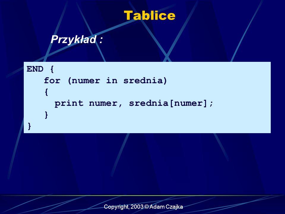 Copyright, 2003 © Adam Czajka Tablice END { for (numer in srednia) { print numer, srednia[numer]; } Przykład :