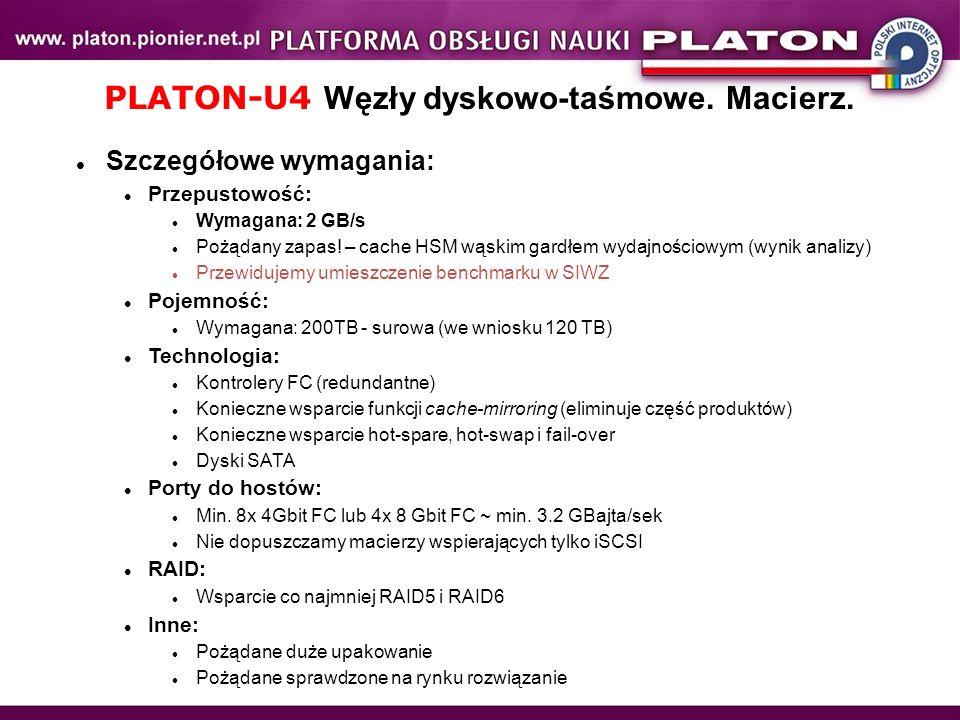 PLATON-U4 Węzły dyskowo-taśmowe. Macierz. Szczegółowe wymagania: Przepustowość: Wymagana: 2 GB/s Pożądany zapas! – cache HSM wąskim gardłem wydajności